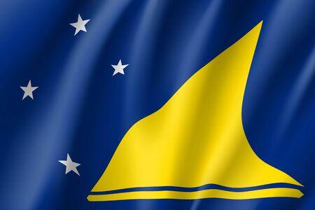 Tokelau Islands realistic flag illustration. Ilustrace