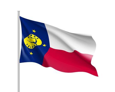 웨이크 섬의 깃발을 흔들며. 깃대에 오세아니아 국가 플래그의 그림입니다. 흰색 배경에 고립 된 벡터 3d 아이콘