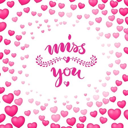 Poster, miss you, heart bubbles around