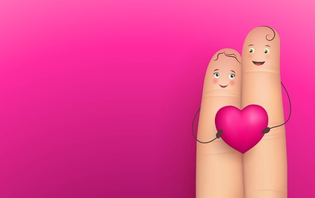 Two happy fingers holding heart, realistic, pink background
