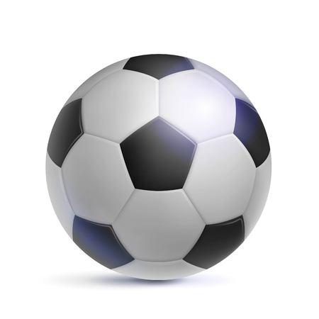 Voetbal, realistisch, geïsoleerd. Afbeelding van sportuitrusting voor voetballers, fans en amateurs. Vector illustratie van moderne gedetailleerde voetbal. Stock Illustratie