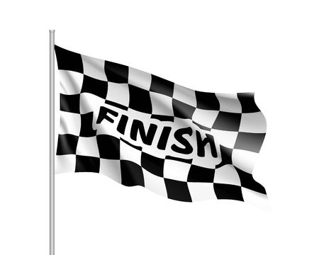Waving flag auto racing, inscription finish, realistic banner. Symbol of start and finish of race cars on route. Vector illustration of chess canvas