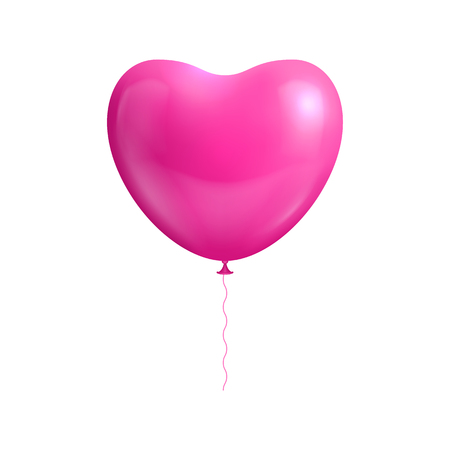 Heart shape balloon isolated. Balloon heart shaped isolated pink for designers and illustrators. Gasbag pink color in the form of a vector illustration