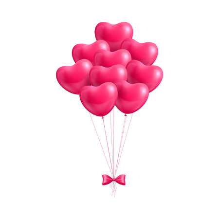 Bundle balloons form hearts bow isolated. A bundle of balloons in the form of hearts with a bow isolated for designers and illustrators. Bunch of balls in the form of a vector illustration Illustration