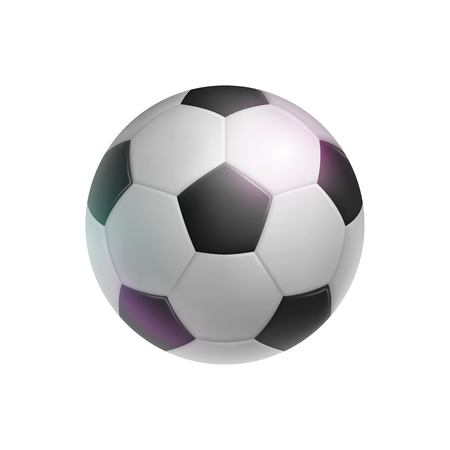 Klassieke voetbal, realistisch, geïsoleerd. Afbeelding van sportuitrusting voor voetballers, fans en amateurs. Vector illustratie van moderne gedetailleerde clipart Stock Illustratie