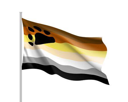 International bear brotherhood waving flag, gay movement, realistic icon. Vector illustration of a colorful element