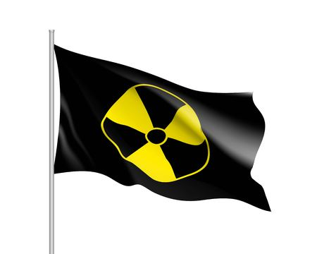 Yellow radiation flag on white background