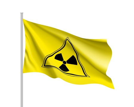 Yellow radiation sign triangle on yellow background Illustration