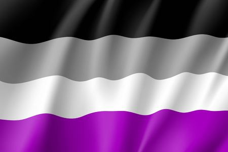 International asexual waving flag, people movement, realistic icon. Canvas for all who abandoned sex life, not experiencing attraction and so on. Vector illustration of a colorful element Ilustração