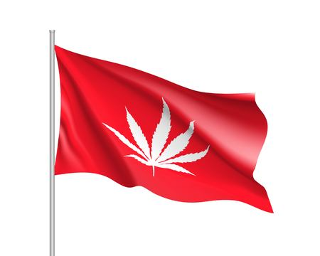 White cannabis leaf on red background Illustration