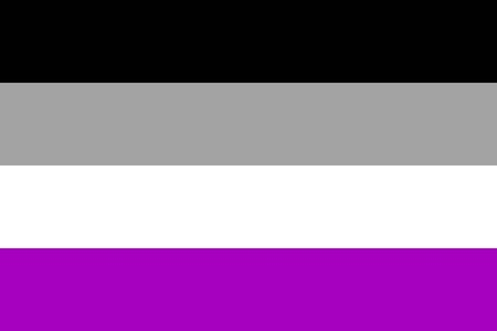 International asexual flag, people movement, flat icon. Canvas for all who abandoned sex life, not experiencing attraction and so on. Vector illustration of a colorful element Imagens - 94976219