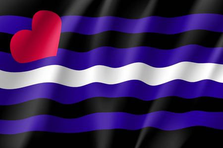 Leather pride emblem, realistic waving flag. Canvas for fetishists. Vector illustration of a colorful element Illustration