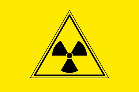 Yellow radiation sign triangle on yellow background, flat icon. Warning about threat to life, dangerous factory or plant, the production or storage of various substances. Vector illustration Illustration