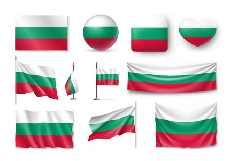 Set Bulgaria flags, banners, banners, symbols, flat icon Illustration