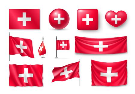 Set Switzerland flags, banners, banners, symbols, flat icon