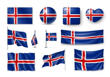 Set of Iceland flags, banners, symbols, flat icon