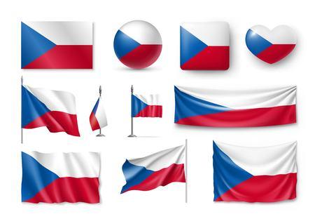 Set Czech Republic flags, banners, banners, symbols, flat icon