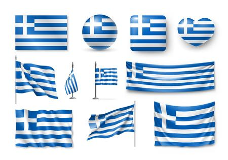 Set of Greece flags, banners and symbols flat icon