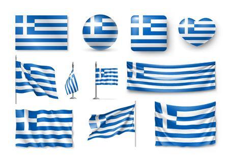 Satz Griechenland-Flaggen, Fahnen und flache Ikone der Symbole Vektorgrafik