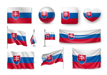 Set Slovakia flags, banners, banners, symbols, flat icon