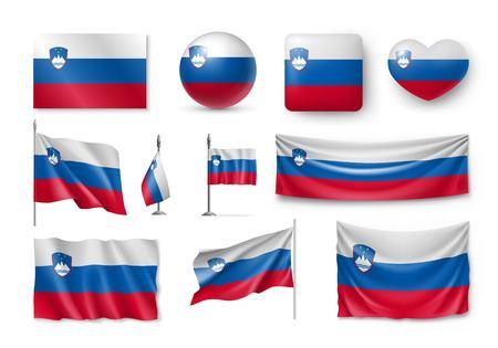 Set Slovenia flags, banners, banners, symbols, flat icon Stock Illustratie