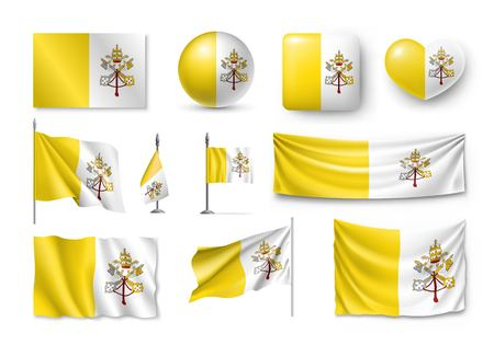 Set Vatican flags, banners, banners, symbols, flat icon  イラスト・ベクター素材