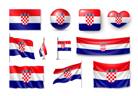 Set of Croatia flags realistic icons 向量圖像