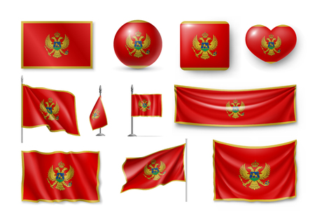Set of Montenegro flags realistic icons