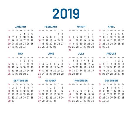 Simple wall calendar for the year 2019.