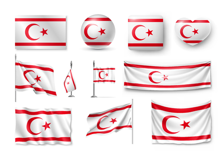 Northern Cyprus flags, banners, banners, symbols, realistic icon.