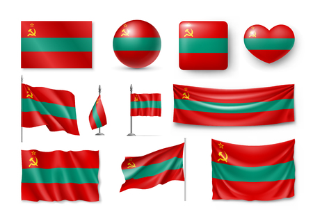 Transnistria flags, banners, banners, symbols, realistic icon. Illustration