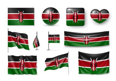 Set Kenya flags.realistic icon 版權商用圖片 - 95914245