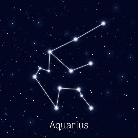 Sign zodiac Aquarius in the night sky background.