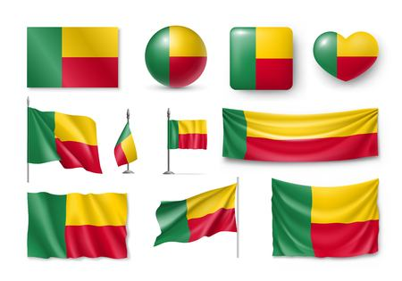 Set Benin flags, banners, banners, symbols, realistic