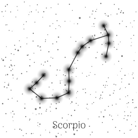 Sign zodiac scorpio, white sky background Vector illustration.