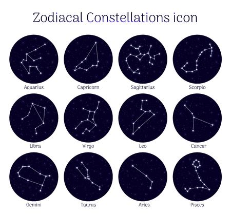 Set zodiacal constellations, round  night sky background, icon realistic Vector illustration. Vectores