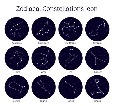 Set zodiacal constellations, round  night sky background, icon realistic Vector illustration. Ilustracja