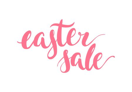 Hand drawn lettering, easter sale, pink isolated Vector illustration. Illustration