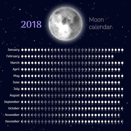Moon calendar 2018 year