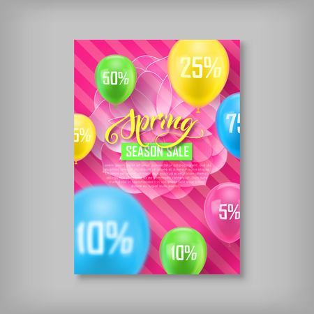 Card, spring sale, discount percent, flower, balloon background