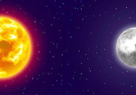 Moon and sun, night sky background, cartoon style.