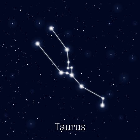 Sign zodiac taurus, night sky background, realistic