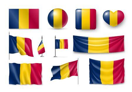 Set Chad flags, banners, symbols, flat icon Çizim