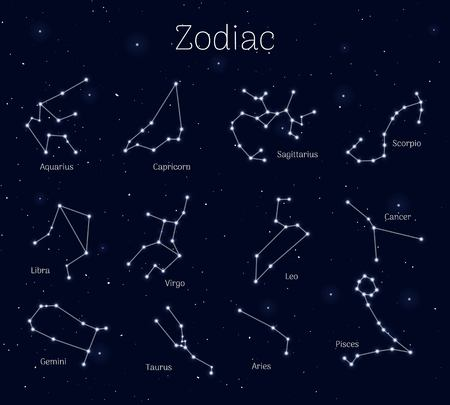 Set zodiac signs, night sky background, realistic Vector illustration.