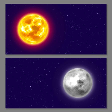 Two cards with moon and sun on night background