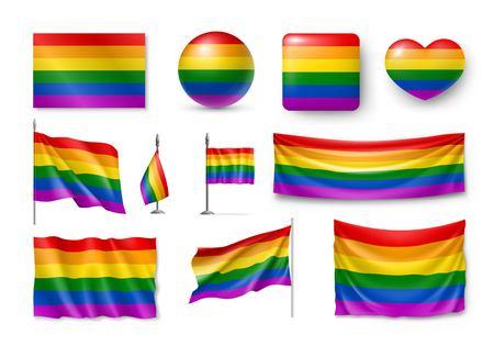 LGBT flag set realistic.