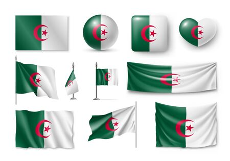 Set Algeria flags, banners, banners, symbols, flat icon. Vector illustration of collection of national symbols on various objects and state signs Illustration