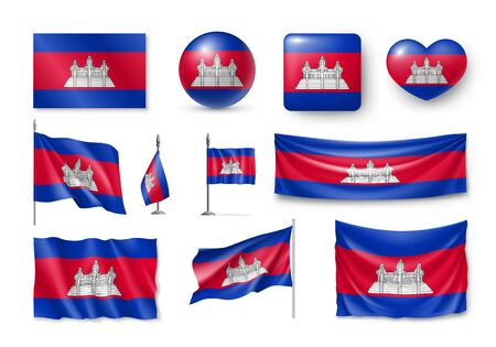 Set Cambodia flags, banners, banners, symbols, flat icon 일러스트