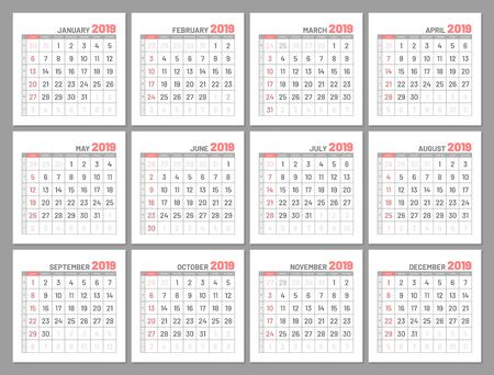 Set identical light mini calendars, 2019 in months