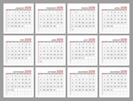 Set identical light mini calendars, 2019 in months